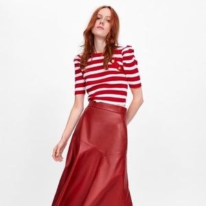 Zara Red & White Stripe Top with Gold Buttons